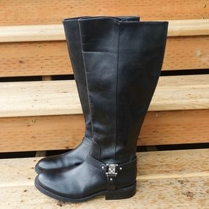 "Vince Camuto ""Farren"" Black Leather Riding Boots"